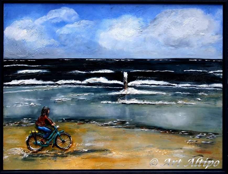 Zeegezicht fietser