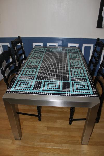 tafel, mozaïek, RVS, meubel
