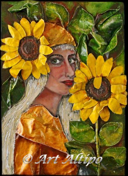 sunflower girl gemengde techniek en materiaal