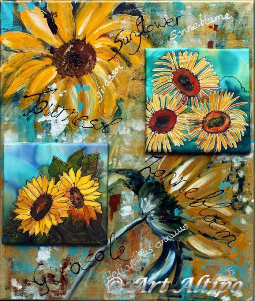 Sunflowers gemengde techniek